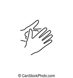 vector, manos, ilustración, icono, por favor, lavado, signo...