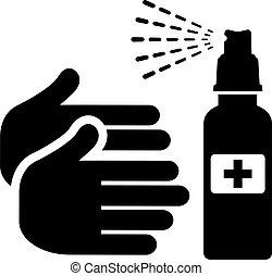 vector, manos, su, sanitise, icono
