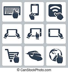 vector, manos, y, iconos de tecnología, conjunto