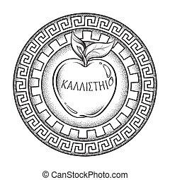 vector, manzana, ilustración, discordia