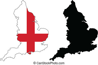 england - vector map and flag of england.