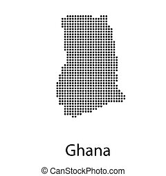 vector map and flag of Ghana with white background.