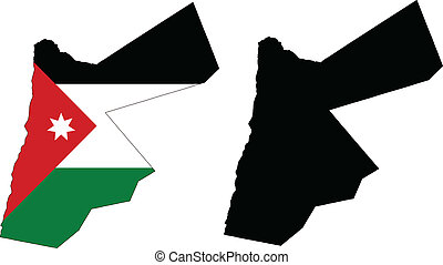 Jordan - vector map and flag of Jordan with white background...