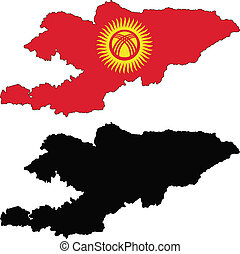 Kyrgyzstan - vector map and flag of Kyrgyzstan with white ...