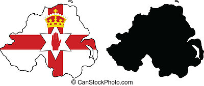 Northern Ireland - vector map and flag of Northern Ireland.