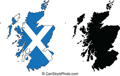 Scotland - Vector map and flag of Scotland.