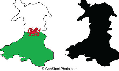 vector map and flag of wales.