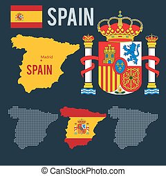 Vector map coat emblem flag halfton maps of Spain