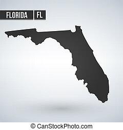 Vector map Florida. Isolated vector Illustration. Black on White background. EPS Illustration.