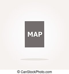 vector map icon web button with map