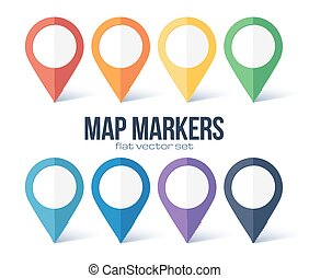 Vector map markers rainbow colors set isolated on white