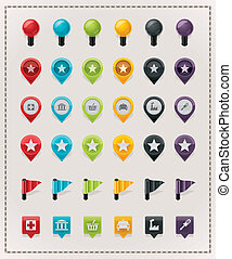 Set of the glossy map markers, 6 colors
