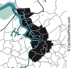 Antwerpen (Antwerp), Belgium map rivers, water, administrative regions districts on white background