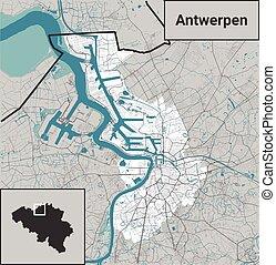 Antwerpen (Antwerp), Belgium map rivers, water, roads and highways on white background