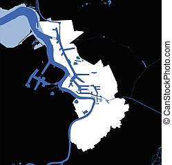 Antwerpen (Antwerp), Belgium administrative white map rivers and water on black background