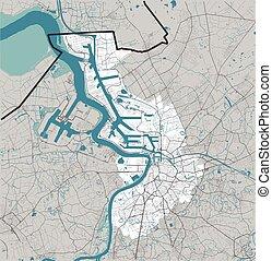 Antwerpen (Antwerp), Belgium map rivers, water, roads and highways on grey background