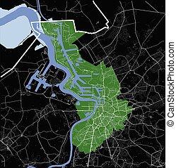 Antwerpen (Antwerp), Belgium administrative green map rivers, water, roads and highways on black background