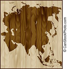 Vector map of Asia on wood background
