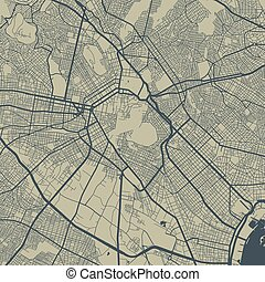 Vector map of Athens. Street map art poster illustration.