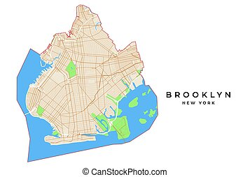 Vector map of Brooklyn, New York, USA. Various colors for...