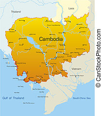 Cambodia country - Vector map of Cambodia country