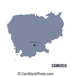 Vector map of Cambodia isolated on white background.