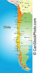 Chile country - vector map of Chile country