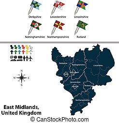East Midlands, United Kingdom - Vector map of East Midlands...