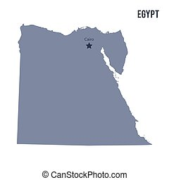 Clip Art Vector Of Detailed Vector Map Of Egypt And Capital City - Map of egypt with capital