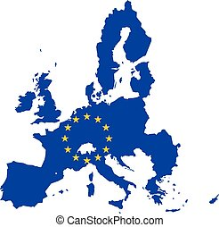Vector map of European Union combined with EU flag