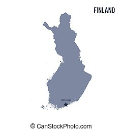 Vector map of Finland isolated on white background.