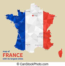 Vector Map of France and its Largest cities