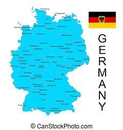 Vector map of Germany with flag on white background