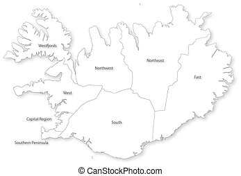 Vector map of Iceland with regions. - Vector map of Iceland...