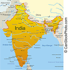 India country - Vector map of India country