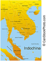 Indochina - Vector map of Indochina countries
