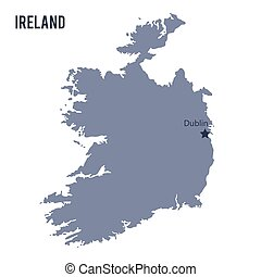 Vector map of Ireland isolated on white background.