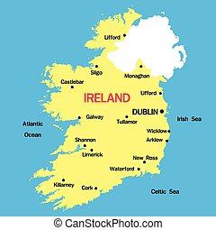 Map Of Ireland Major Cities.Map Of Australia With Major Towns And Cities Vector Illustration
