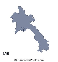 Vector map of Laos isolated on white background.