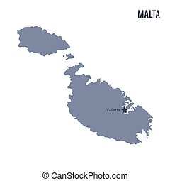 Vector map of Malta isolated on white background.
