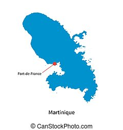 Detailed vector map of Martinique and capital city Fort-de-France