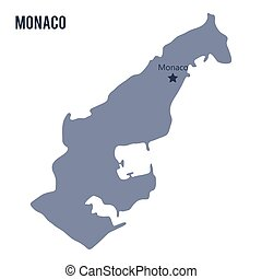 Vector map of Monaco isolated on white background.