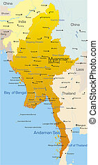 Myanmar country - Vector map of Myanmar country