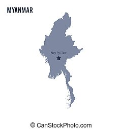 Vector map of Myanmar isolated on white background.