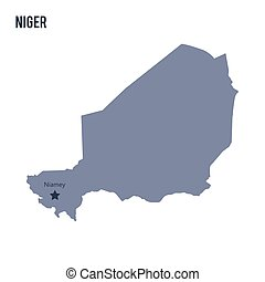 Vector map of Niger isolated on white background. Travel...