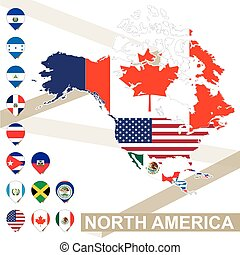 Vector map of North America with flags