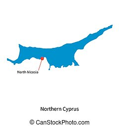 Vector map of Northern Cyprus and capital city North Nicosia
