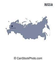 Vector map of Russia isolated on white background.