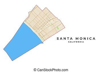 Vector map of Santa Monica, California, USA