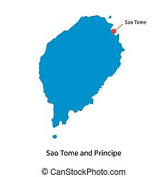 Vector map of Sao Tome and Principe with capital city -...